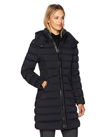 Mackage Women's Farren Fitted Lightweight Down Jacket W/ Quilted Detailing, Black, M