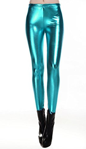 Liquid Wet Look Shiny Metallic Stretch Leggings (M, Blue)