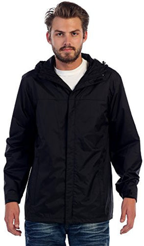 Gioberti Men's Waterproof Rain Jacket, Black, L