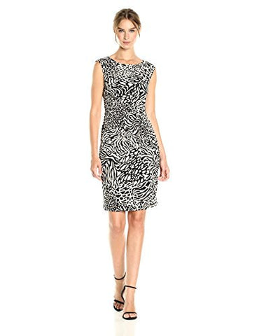 Anne Klein Women's Printed Jersey Side Twist, Oyster Shell/Black Combo, 2