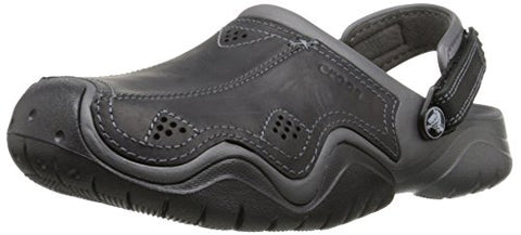crocs Men's Swiftwater Leather Clog, Graphite/Black, 10 M US