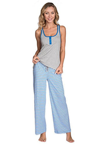 Cozy Loungewear Women's Cute Henley Tank and Pants 2 Piece Pajama Set (Grey, L)