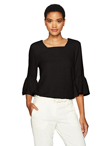 Calvin Klein Women's Texture Square Neck Flutter Sleeve Top, Black, XL