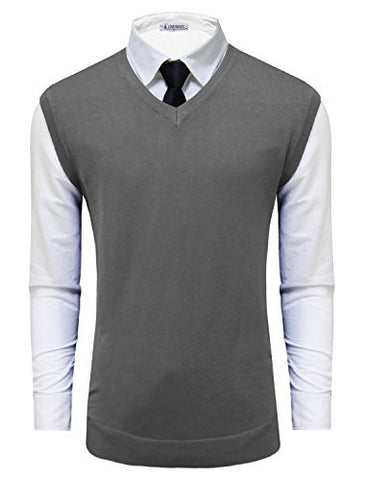 Tom's Ware Mens Casual Pullover V-Neck Sweater Vest TWMV05-CHARCOAL-US M