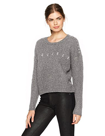 Guess Women's Long Sleeve Grommet Ring Ribbed Mix Sweater, Heather Light Grey/Multi, X-Small