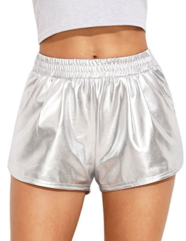 SweatyRocks Women Shorts Yoga Shorts Jogger Running Athletic Hot Shorts, Silver Silver Medium