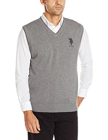 U.S. Polo Assn. Men's V-Neck Sweater Vest, Moon Heather, Large
