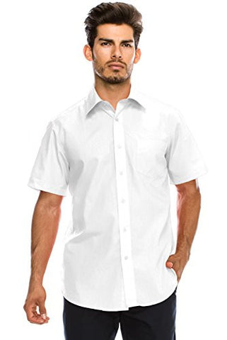 Men's Regular-Fit Solid Color Short Sleeve Dress Shirt, WHITE Shirts (XL)