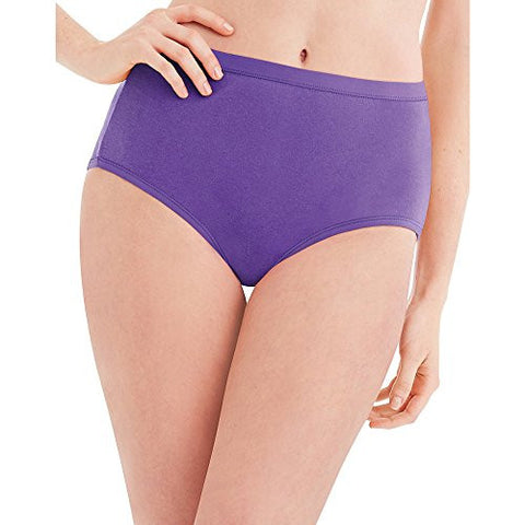 Hanes Womens No Ride Up Cotton Brief 6-Pack PP40AD, 7, Asst/Solid