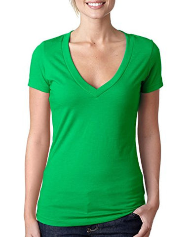 Next Level Ladies' CVC Deep V-Neck Tee (Kelly Green) (2X-Large)