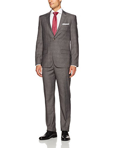Ben Sherman Men's Two Button Slim Fit Check Suit, Grey with Burgundy, 44R