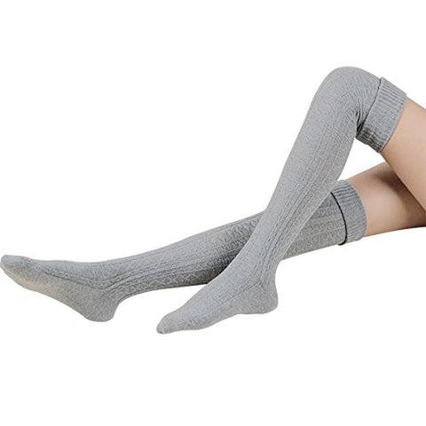 Hippih Womens Winter Sexy Over Knee Leg Warmer Crochet Thigh High Boot Socks Girls Leggings(Grey)