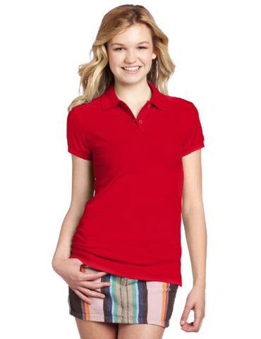 Dickies Girl Juniors Short Sleeve 2 Button Pique Polo,Red,Medium