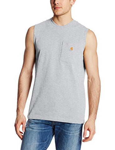 Carhartt Men's Workwear Pocket Sleeveless Midweight T-Shirt Relaxed Fit,Heather Gray,XX-Large
