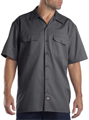 Dickies Men's Big-Tall Short-Sleeve Work Shirt,Charcoal,6X