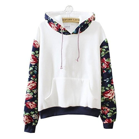 Cute Hoodies Sweater Pullover Warm Fleece Lined Flowers Sleeve White X-Large
