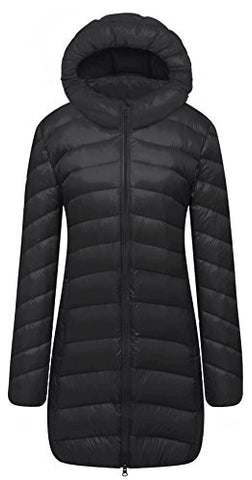 Cloudy Arch Women's Winter Lightweight Packable Hooded Down Coat(Black,M)