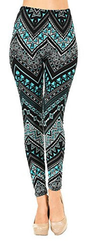 VIV Collection PLUS Size Printed Brushed Leggings (Chevron Triangle)