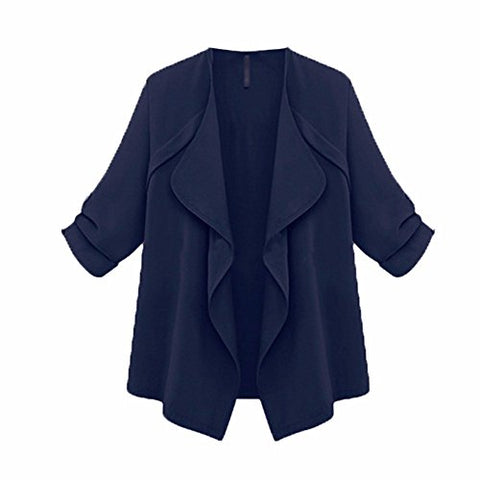 Hot Sale!! ZOMUSA Women Autumn Solid Long Sleeve Loose Plus Size Coat Cardigan (XL, Navy)