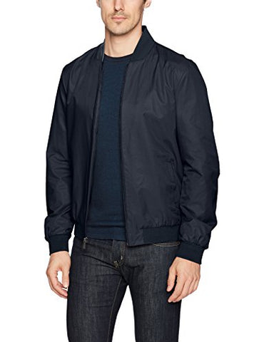Calvin Klein Men's Angled Collar Full Zip Baseball Jacket, Navy Blazer, MEDIUM