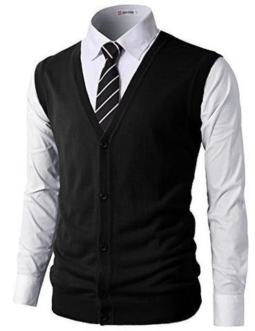 H2H Mens Casual Slim Fit Knit V-Neck Button-Down Vests Of Various Colors BLACK US S/Asia M (CMOV038)