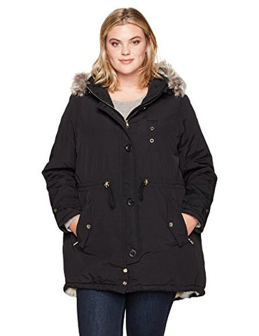 Steve Madden Women's Plus Size Talson Parka Jacket, Black Heather, 2X