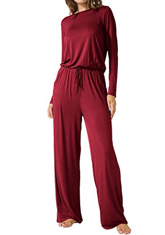 LAINAB Womens Casual Long Sleeves O Neck Jumpsuits Rompers with Pockets Wine L