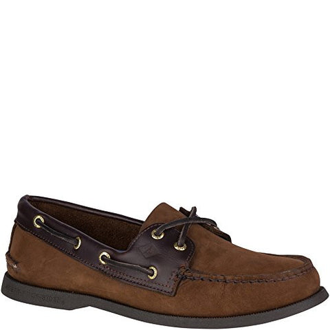 Sperry Top-Sider Men's Authentic 2-Eye Boat Shoe, Brown/Buck Brown, 11.5 XW US