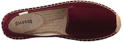Soludos Women's Velvet Smoking Slipper Loafer Flat, Wine, 9 B US