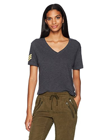 Monrow Women's V Tee W/ Military Patch, Vintage Black, M