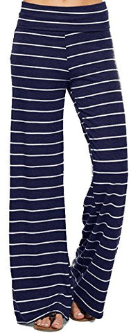 Marilyn & Main Women's Comfy Soft Stretch Pajama Pants,Navy/White,Small