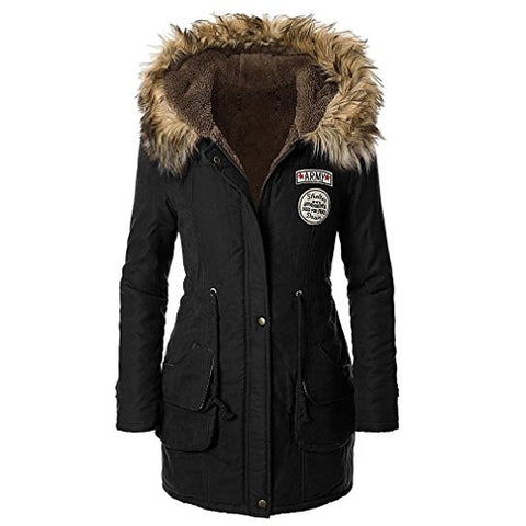 Jeeluory Women Warm Autumn Cotton Fleece Lined Parka Faux Fur Hooded Jacket Coat Black XXXL