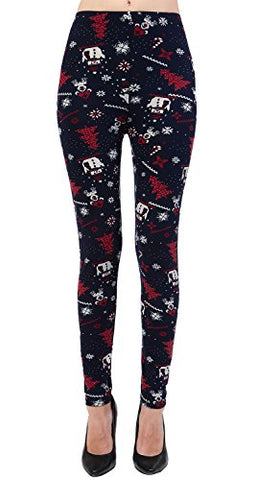 VIV Collection Plus Size Printed Brushed Leggings (Christmas Playtime)