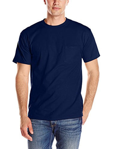 Hanes Men's Short Sleeve Beefy-T with Pocket, Navy, Large