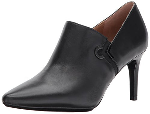 Calvin Klein Women's Joanie Leather Ankle Boot, Black, 9.5 Medium US