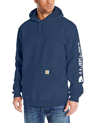 Carhartt Men's Big & Tall Signature Sleeve Logo Midweight  Sweatshirt Hooded,New Navy,XXX-Large Tall