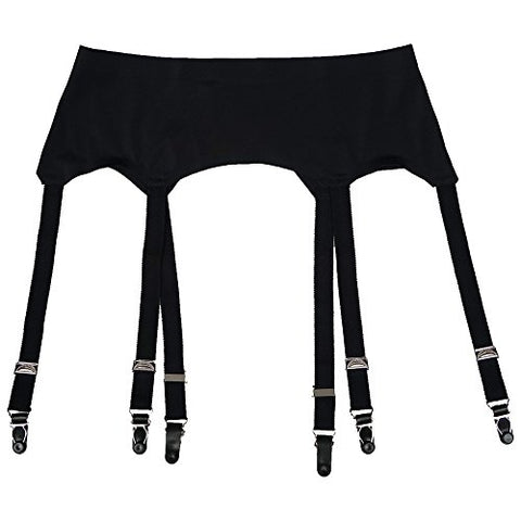 TVRtyle Black Vintage Metal Clip 6 Wide Straps Sexy Women's Garter Belts for Stockings S504 (X-Large)