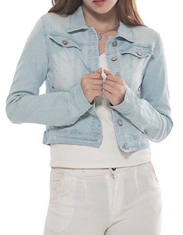 2017 Spring New PERHAPS U Long Sleeve Cropped Loose Denim Jacket for Women Teen Girls M Light Blue