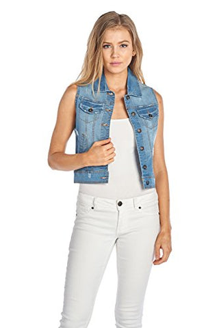 BLUE AGE Womens Denim Jean Jacket and Sleeveless Vest (L, V6005_MEDIUM WASH)