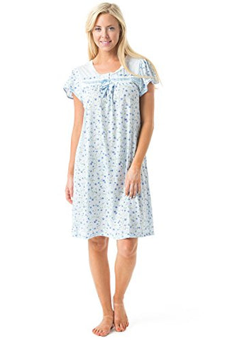 Casual Nights Women's Cap Sleeve Floral Nightgown - Blue - Medium