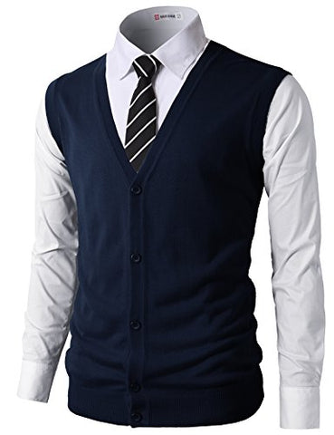 H2H Mens Casual Slim Fit Knitted V Neck Button-Down Vests Of Various Colors NAVY US XL/Asia 2XL (CMOV038)