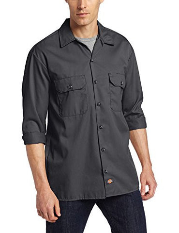 Dickies Men's Long Sleeve Work Shirt, Charcoal, Large