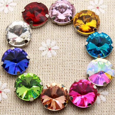 50Pcs 14Mm Crystal 16 Color Round Sew On Rhinestone With Claw Setting Silver Back Fancy Stone With Metal Claw With Holes