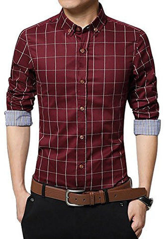 LOCALMODE Men's 100% Cotton Long Sleeve Plaid Slim Fit Button Down Dress Shirt,Wine Red,Medium