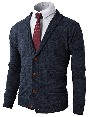 H2H Mens Basic Shawl Collar Knitted Cardigan Sweaters With Pockets NAVY US 3XL/Asia 4XL (CMOCAL07)
