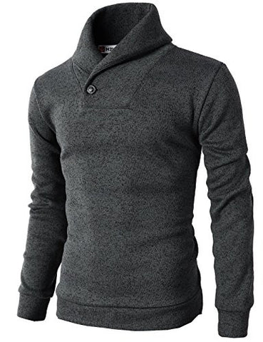 H2H Mens Knited Slim Fit Pullover Sweater Shawl Collar With One Button Point CHARCOAL US L/Asia XL (KMOSWL036)