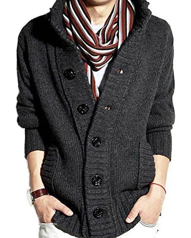 Men's Button Point Stand Collar Knitted Slim Fit Cardigan Sweater (S, Grey)