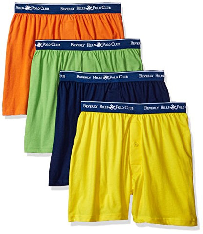 Beverly Hills Polo Club Men's 4 Pack Knit Boxer, Bright Yellow/Navy/Orange/Lime Green, Large
