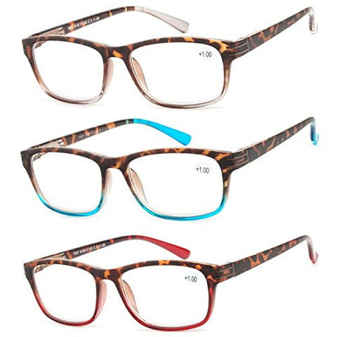 Reading Glasses 3 Pair Great Value Stylish Readers Fashion Men and Women Glasses for Reading +2
