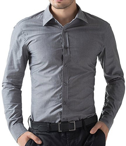 Mens Casual Slim Fit Dress Shirts Dark Grey(L)